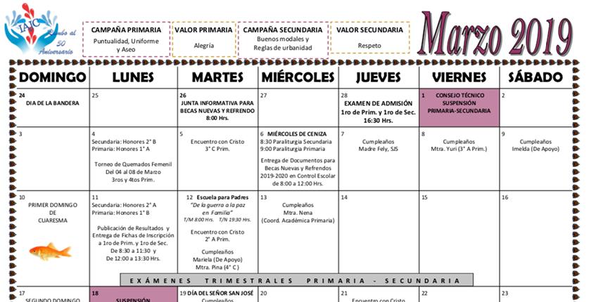 Calendario Marzo 2020.Descarga El Calendario Del Mes De Marzo 2019 Iajc