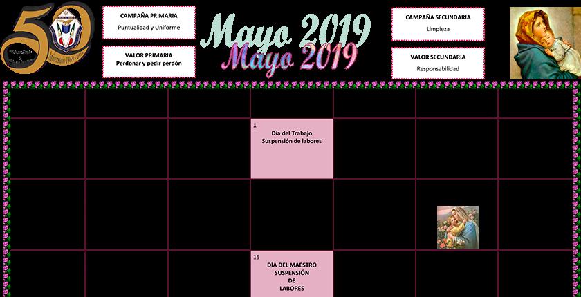 Calendario Abril Y Mayo 2019.Descarga El Calendario Del Mes De Mayo 2019 Iajc