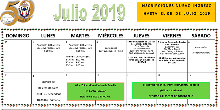 Calendario Calendario Julio 2019.Descarga El Calendario Del Mes De Julio 2019 Iajc
