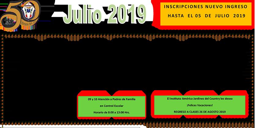 Julio Calendario.Descarga El Calendario Del Mes De Julio 2019 Iajc